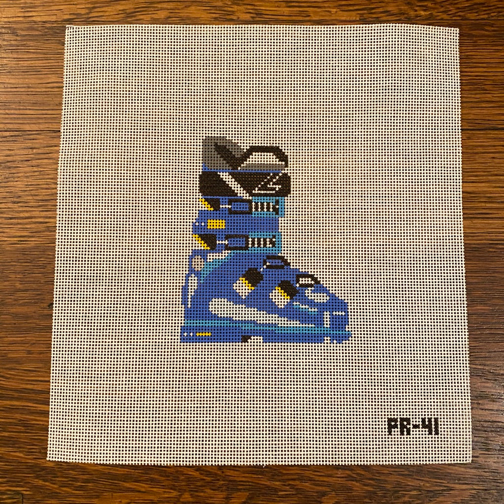 Blue Ski Boot Canvas