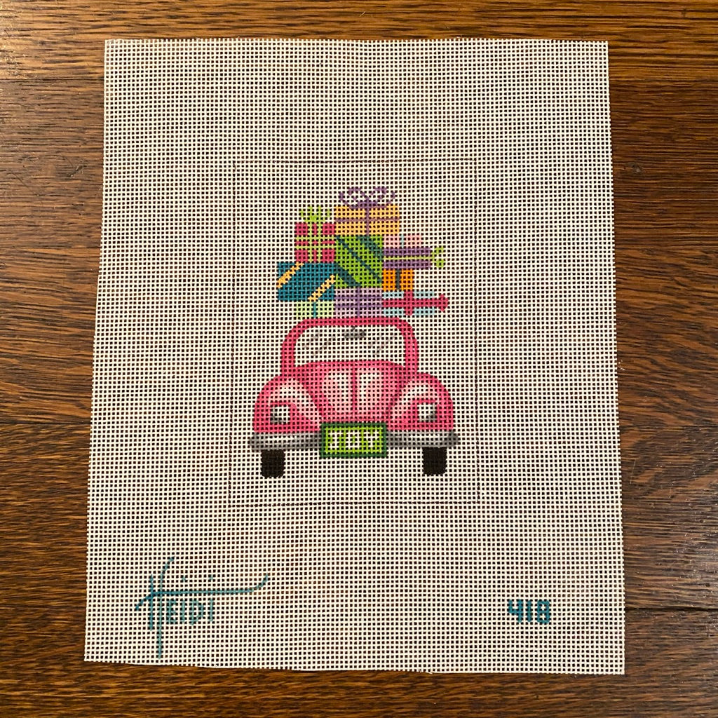 Pink Car with Presents Canvas - needlepoint