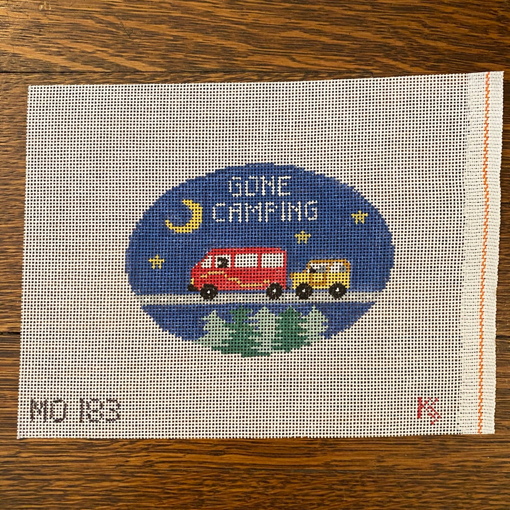 Gone Camping Oval Canvas - needlepoint