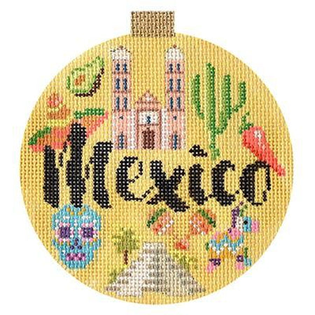 Mexico Travel Round Needlepoint Canvas-Needlepoint Canvas-Kirk and Bradley-KC Needlepoint