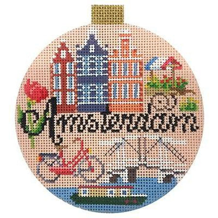 Amsterdam Travel Round Canvas - needlepoint