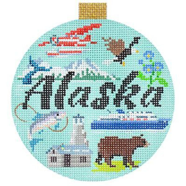 Alaska Travel Round Needlepoint Canvas - needlepoint