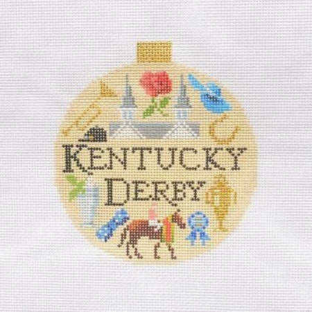 Kentucky Derby Travel Round Needlepoint Canvas-Needlepoint Canvas-Kirk and Bradley-KC Needlepoint