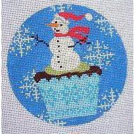 Christmas Cupcake Snowman Ornament Canvas-Needlepoint Canvas-Kirk and Bradley-18 Mesh-KC Needlepoint