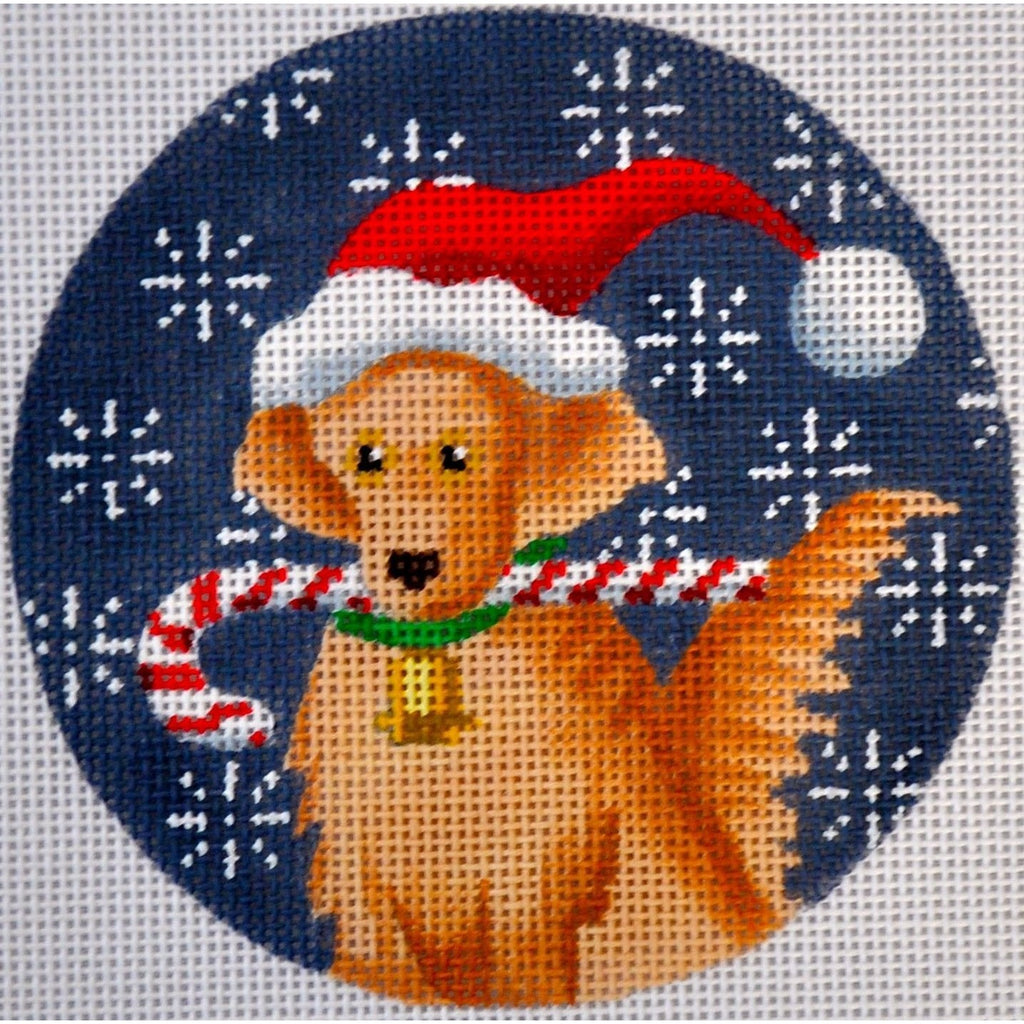 Golden Retriever Candy Cane Round Canvas - needlepoint