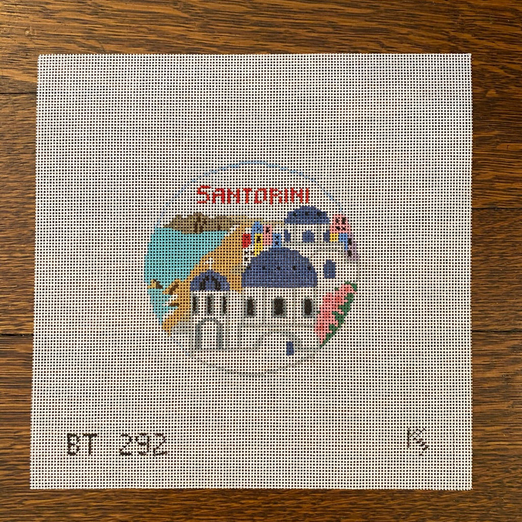 Santorini Travel Round Canvas