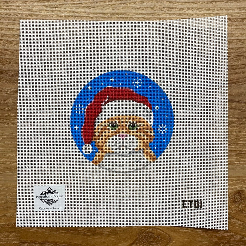 Orange Tabby Santa Ornament Canvas - needlepoint