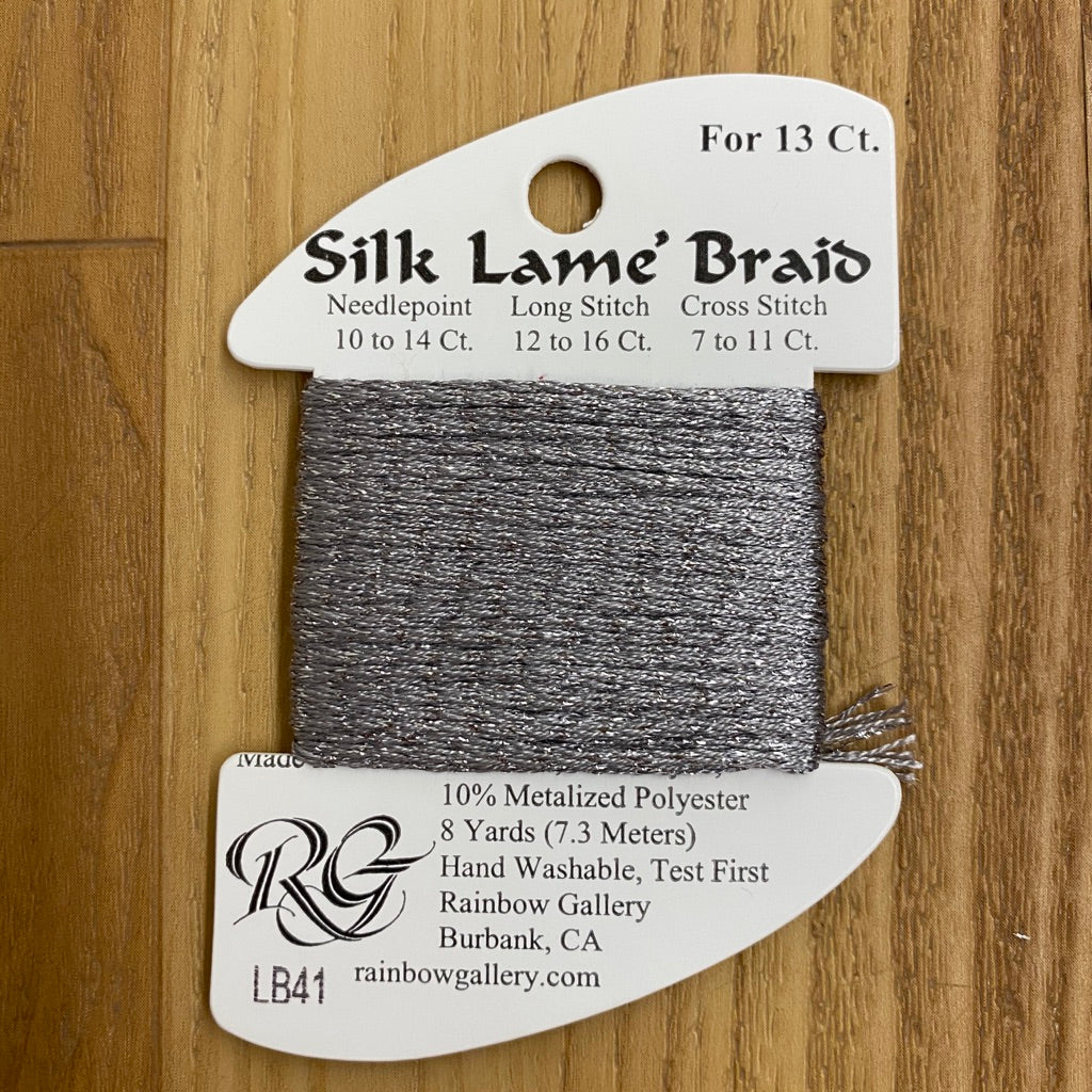 Silk Lamé Braid LB41 Pewter-Silk Lamé Braid-KC Needlepoint