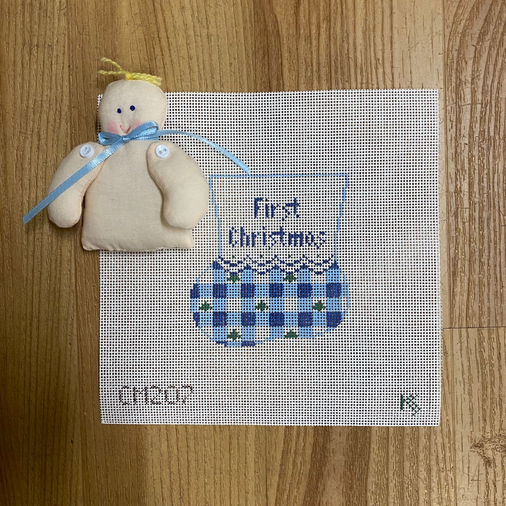 Gingham Mini Sock Canvas with Boy Baby - needlepoint
