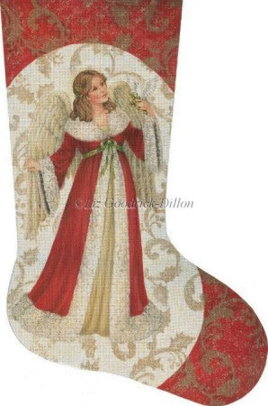 Red Angel with Dove Stocking Canvas-Needlepoint Canvas-Susan Roberts-KC Needlepoint