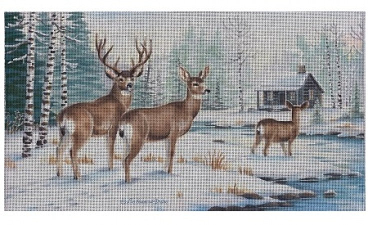Pair of Deer at Cabin Canvas