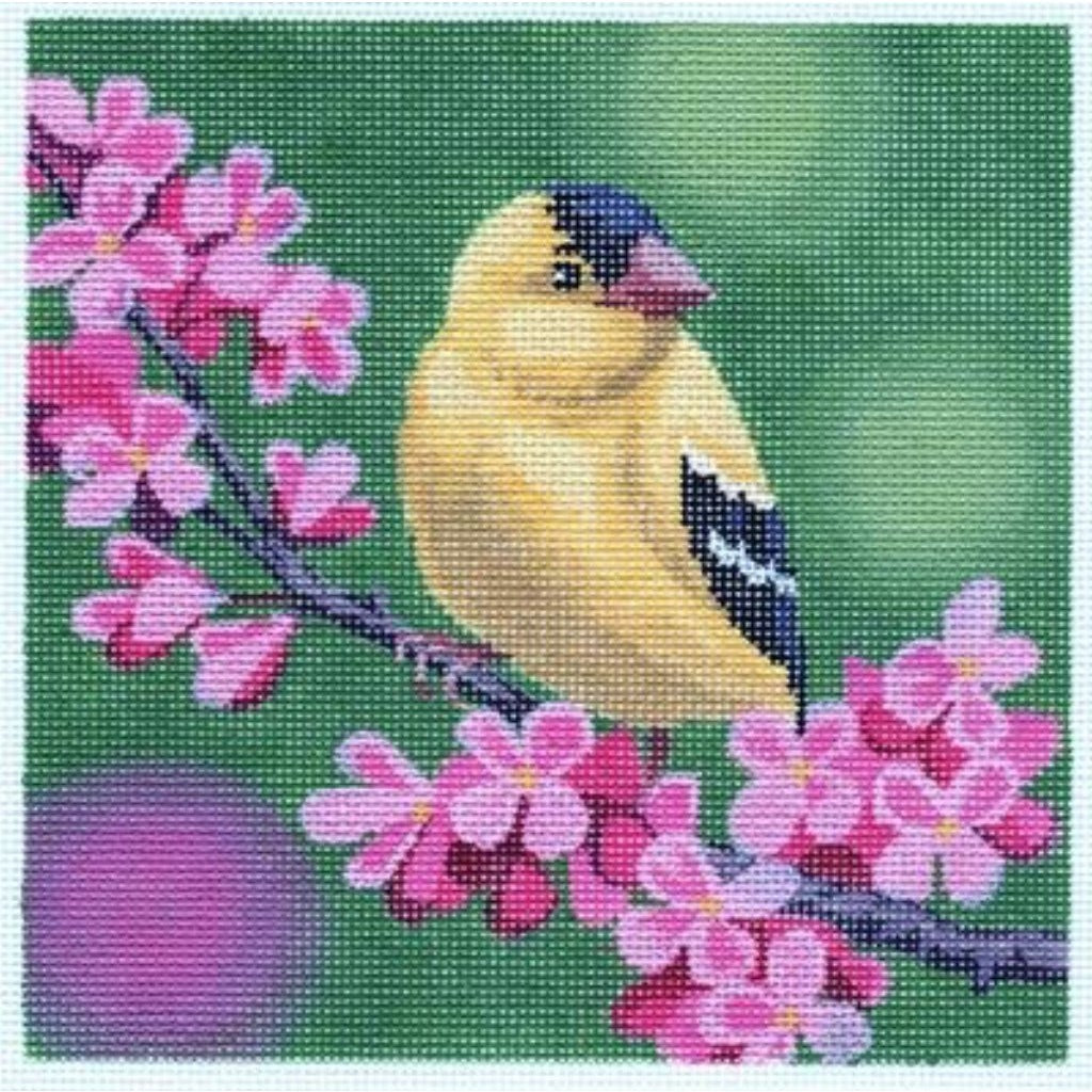 Goldfinch on Cherry Blossoms Canvas - needlepoint