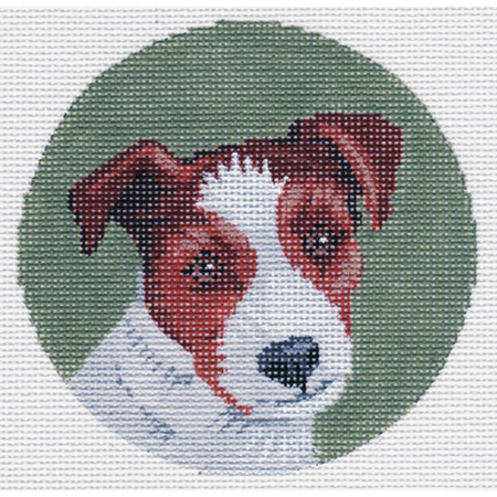 Jack Russell Round Canvas - needlepoint