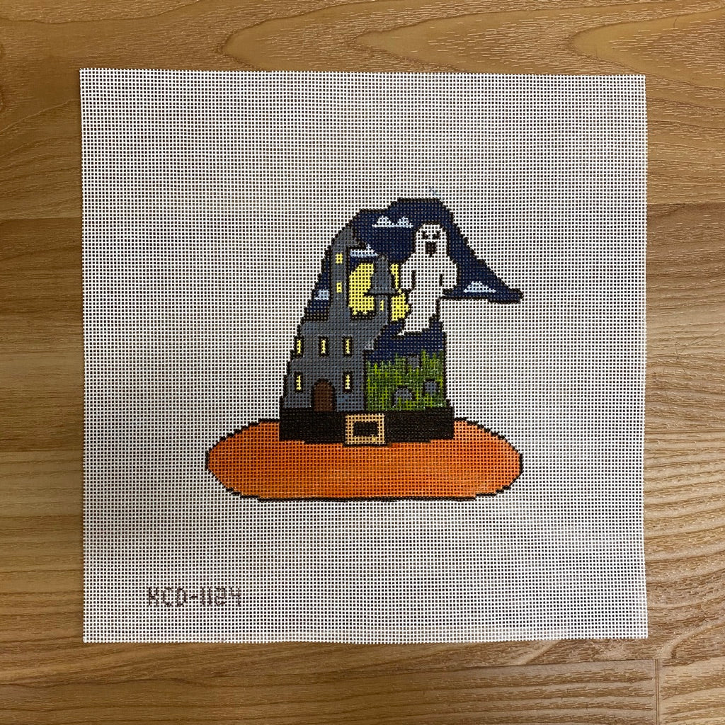 Haunted House Witch's Hat Canvas - needlepoint