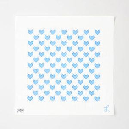 Lattice Blue Heart Canvas - needlepoint