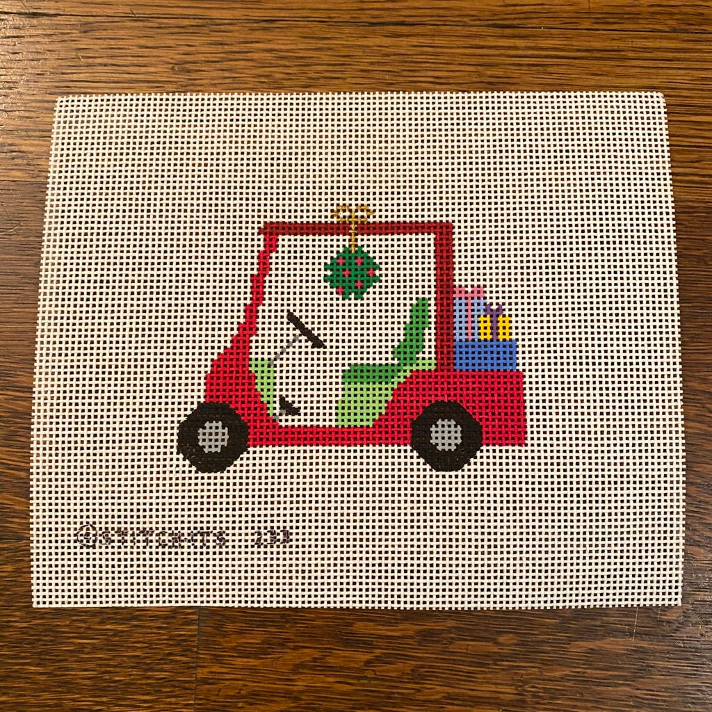 Christmas Golf Cart Canvas - needlepoint