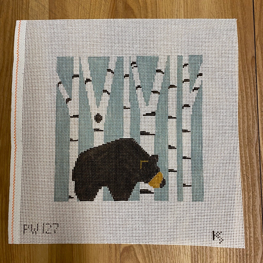 Bear in Birch Trees Pillow Canvas - needlepoint