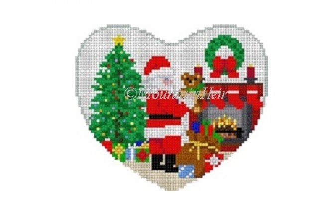 Santa Suffing Stocking Heart Canvas-Needlepoint Canvas-KC Needlepoint