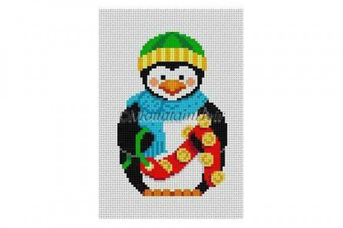Penguin with Sleigh Bells Canvas - needlepoint