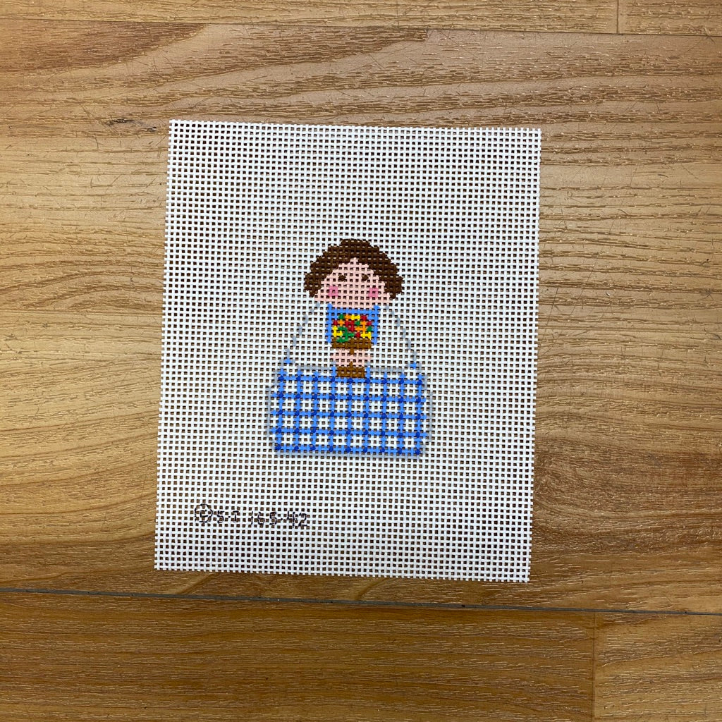 Blue Plaid with Flower Pot Angel Canvas - KC Needlepoint