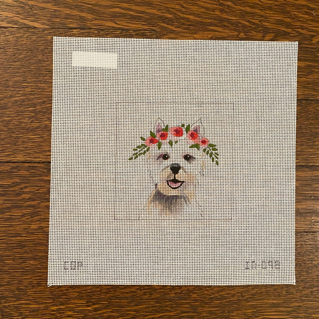 Westie with Flowers Canvas - KC Needlepoint