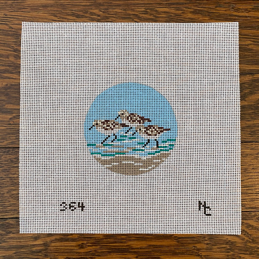 Sandpiper Round Canvas - KC Needlepoint