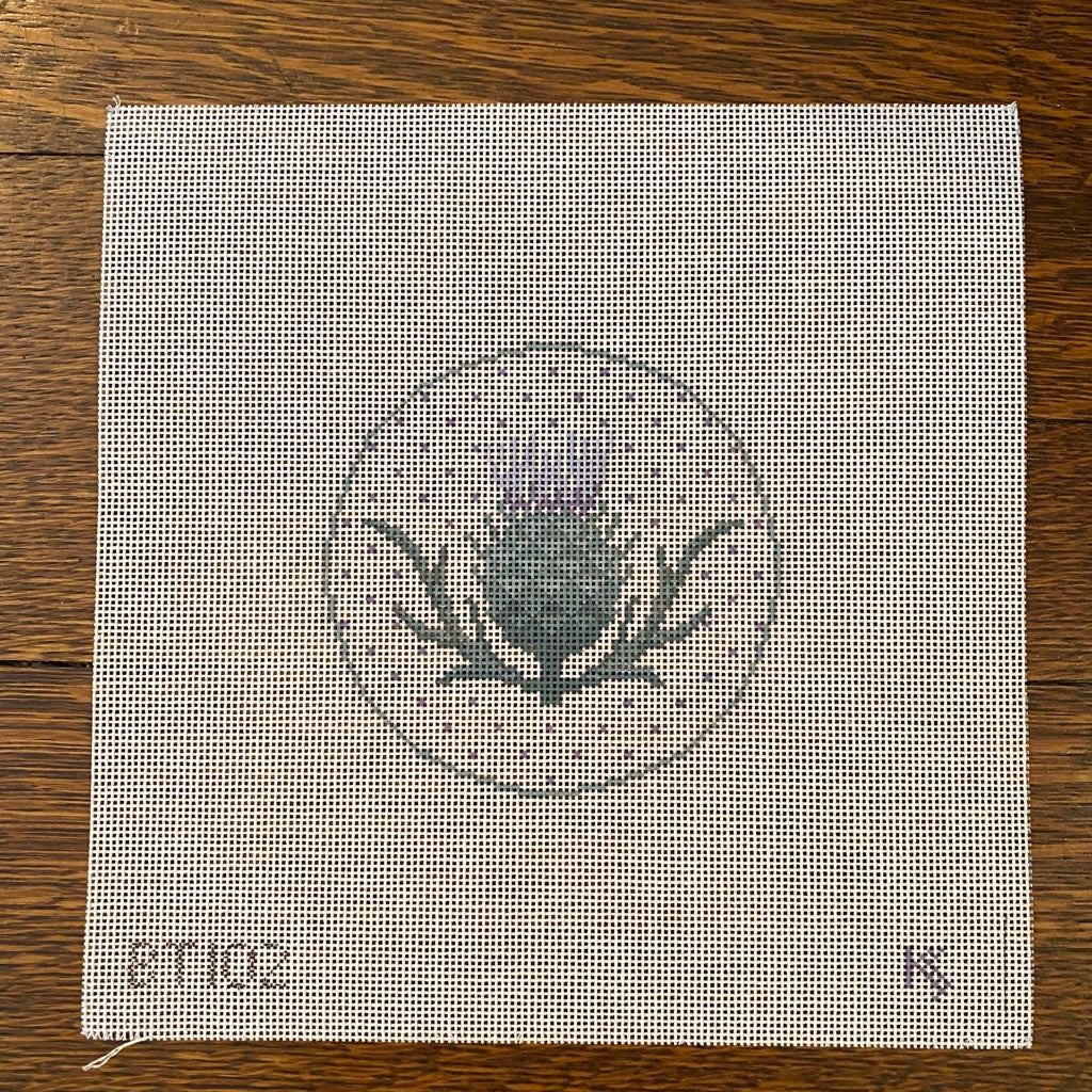 Thistle Round Canvas-Needlepoint Canvas-KC Needlepoint