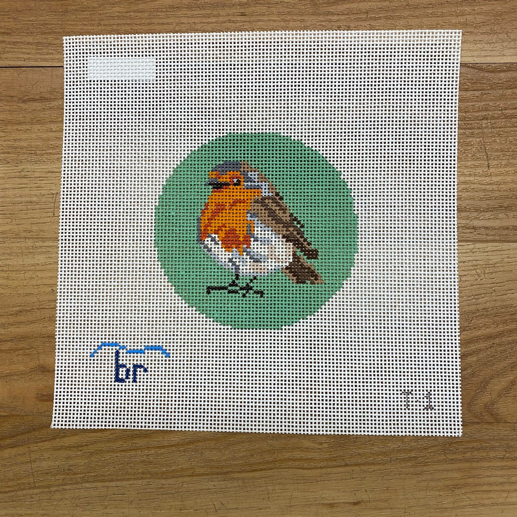 Robin Redbreast Needlepoint Round-Needlepoint Canvas-KC Needlepoint