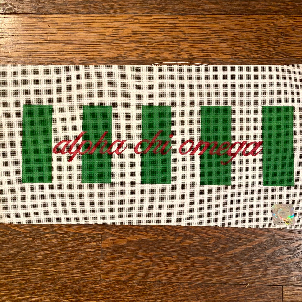 Alpha Chi Omega with Stripes Canvas