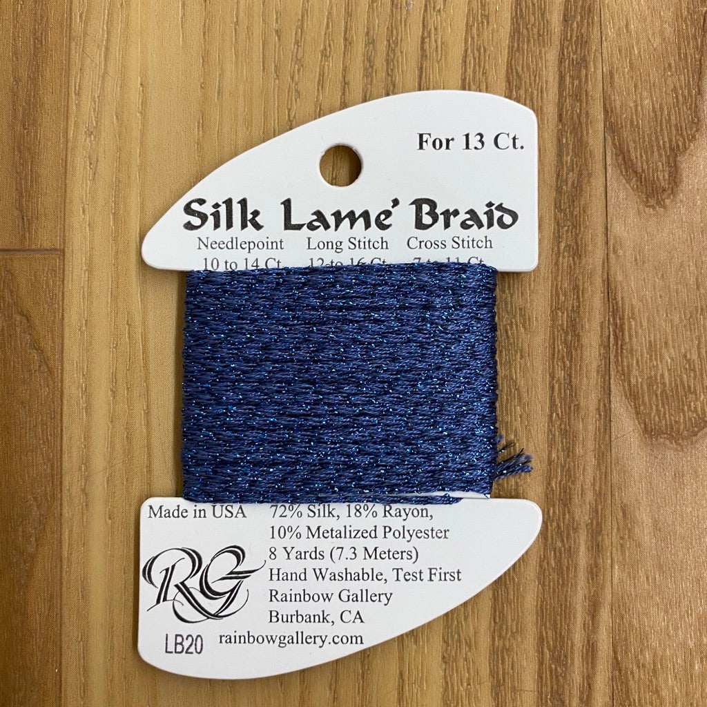 Silk Lamé Braid LB20 Dark Antique Blue-Silk Lamé Braid-KC Needlepoint