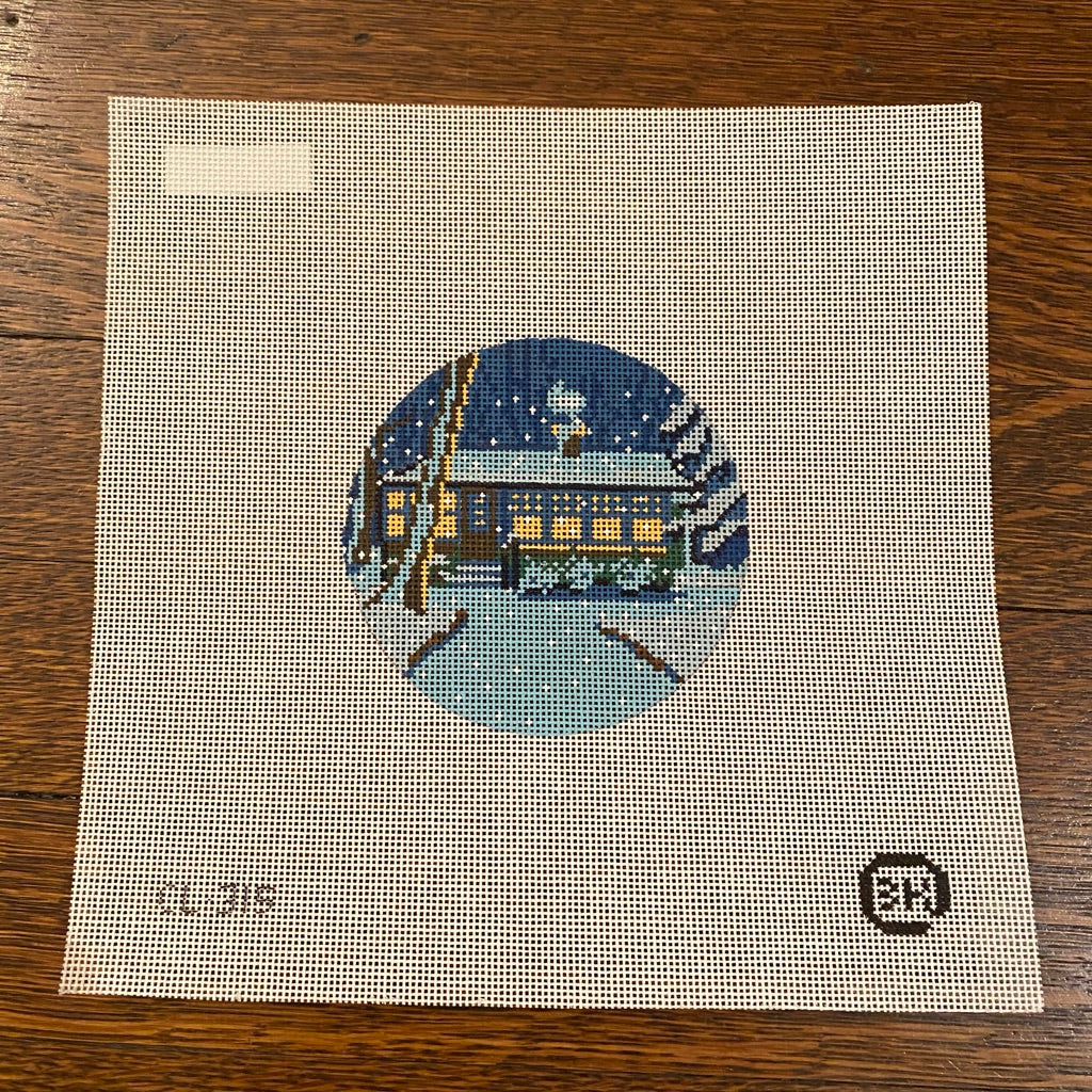 Cabin Ornament Canvas - needlepoint