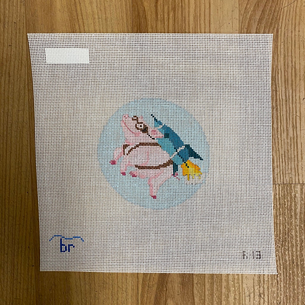 Rocket Pig Canvas - needlepoint