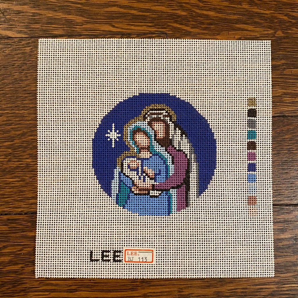 "Nativity 3"" Round Canvas-Needlepoint Canvas-KC Needlepoint"