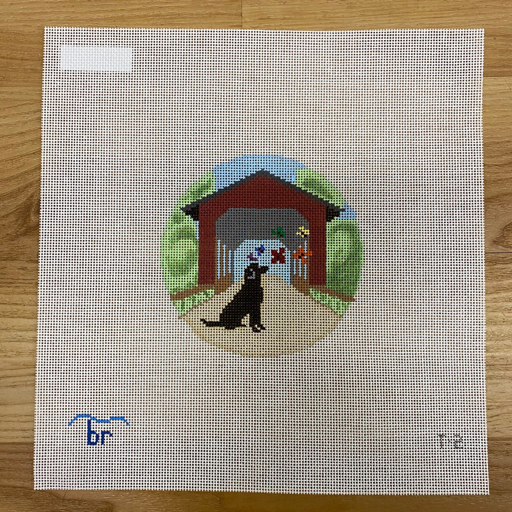 Rainbow Bridge-Black Dog Canvas - needlepoint