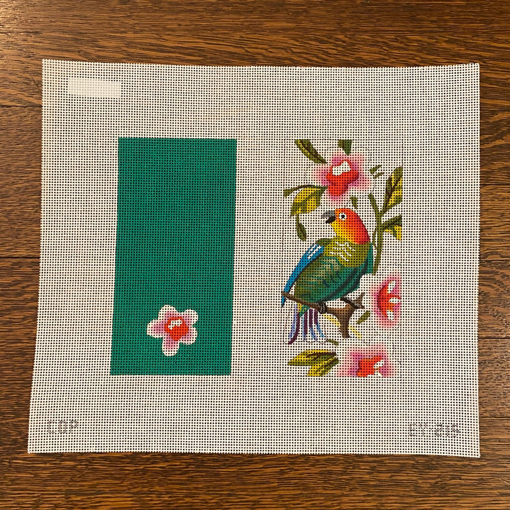 Green Parrot Pink Floral Eyeglass Case Canvas-Needlepoint Canvas-KC Needlepoint