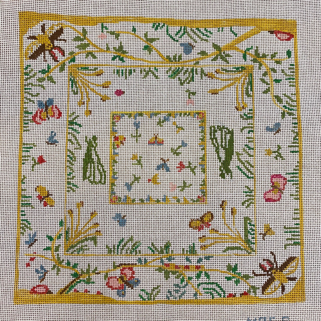 Blooms and Bees Needlepoint Canvas - needlepoint