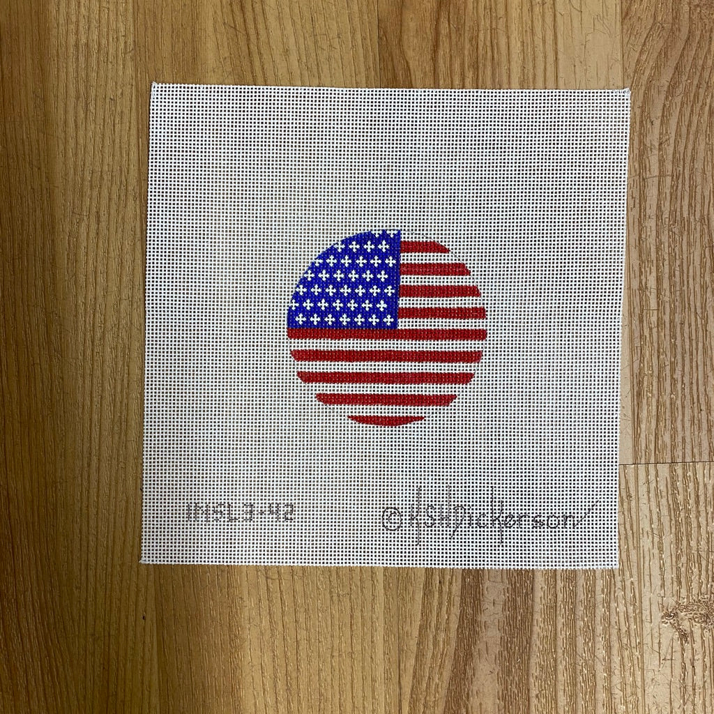 American Flag Round Canvas - needlepoint