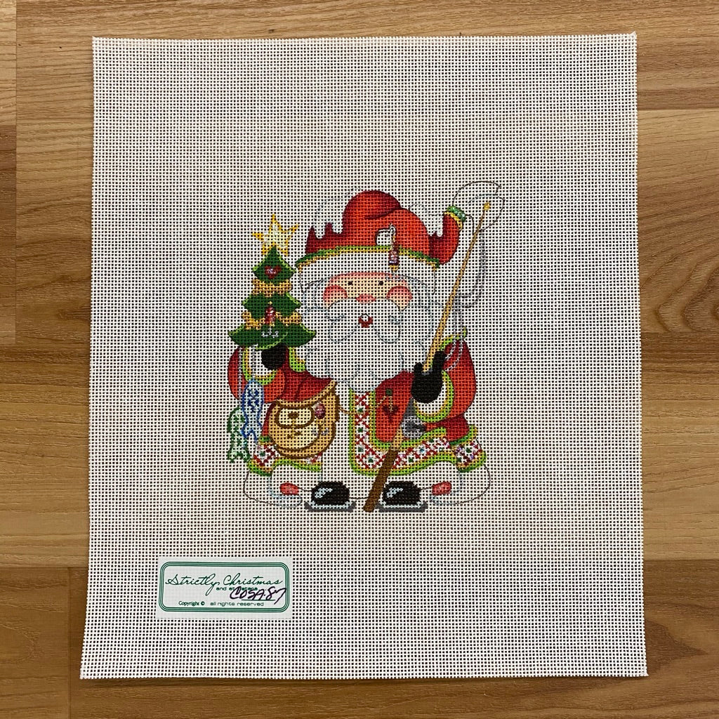 Fishing Squatty Santa Canvas