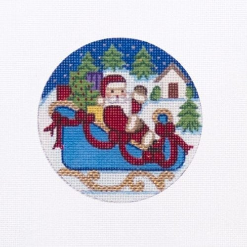 Santa in Sleigh Ornament Canvas-Needlepoint Canvas-Alexa Needlepoint Designs-KC Needlepoint
