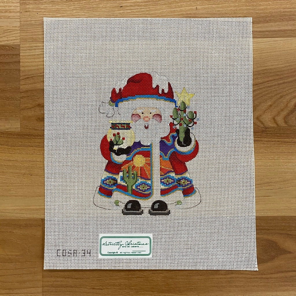 Southwest Squatty Santa Canvas - needlepoint