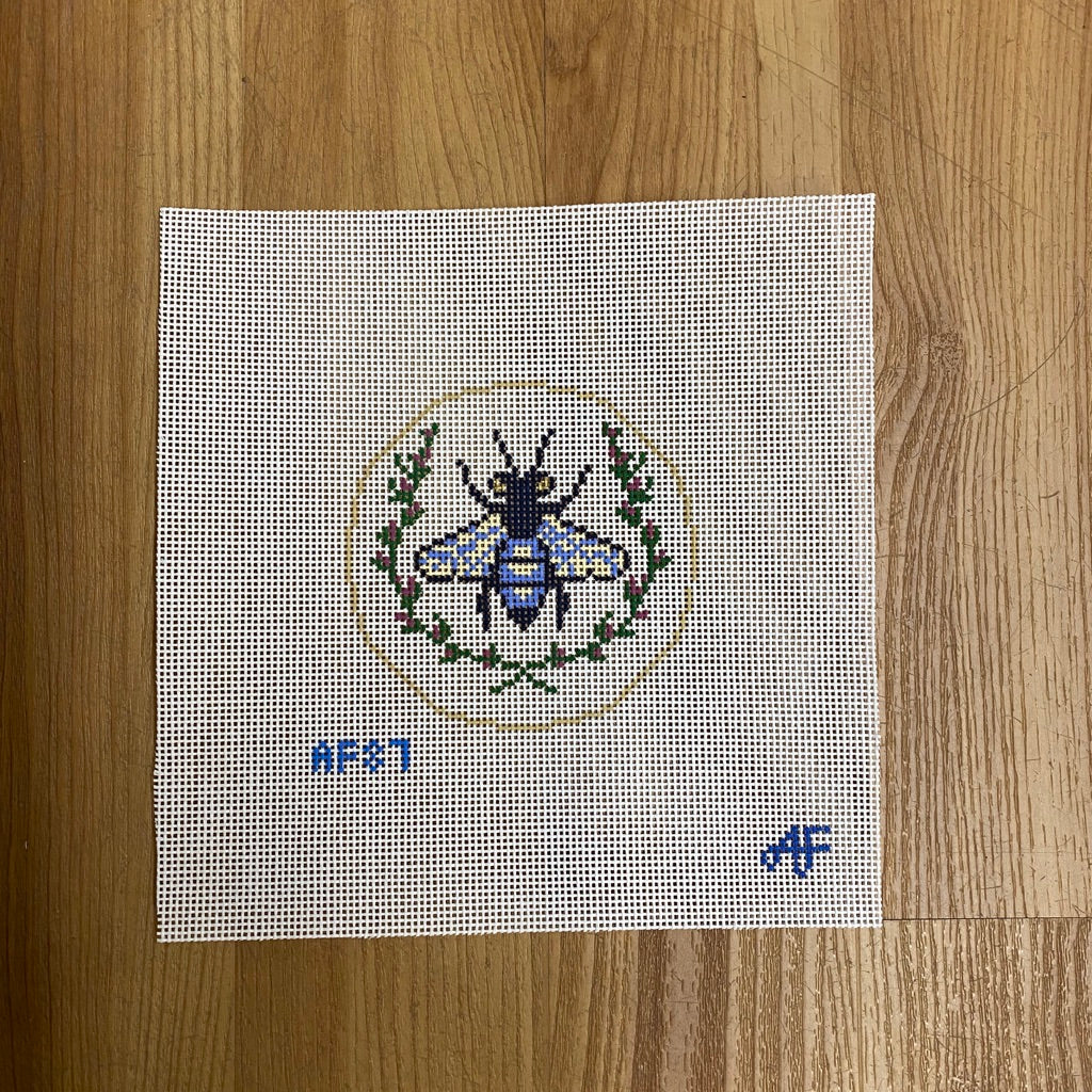 Navy Bee Canvas - KC Needlepoint