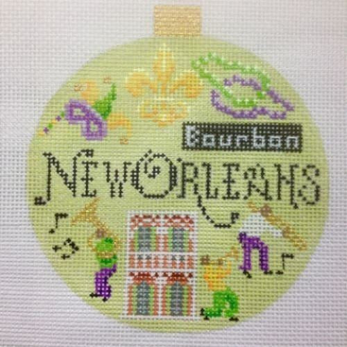 New Orleans Travel Round Needlepoint Canvas - needlepoint