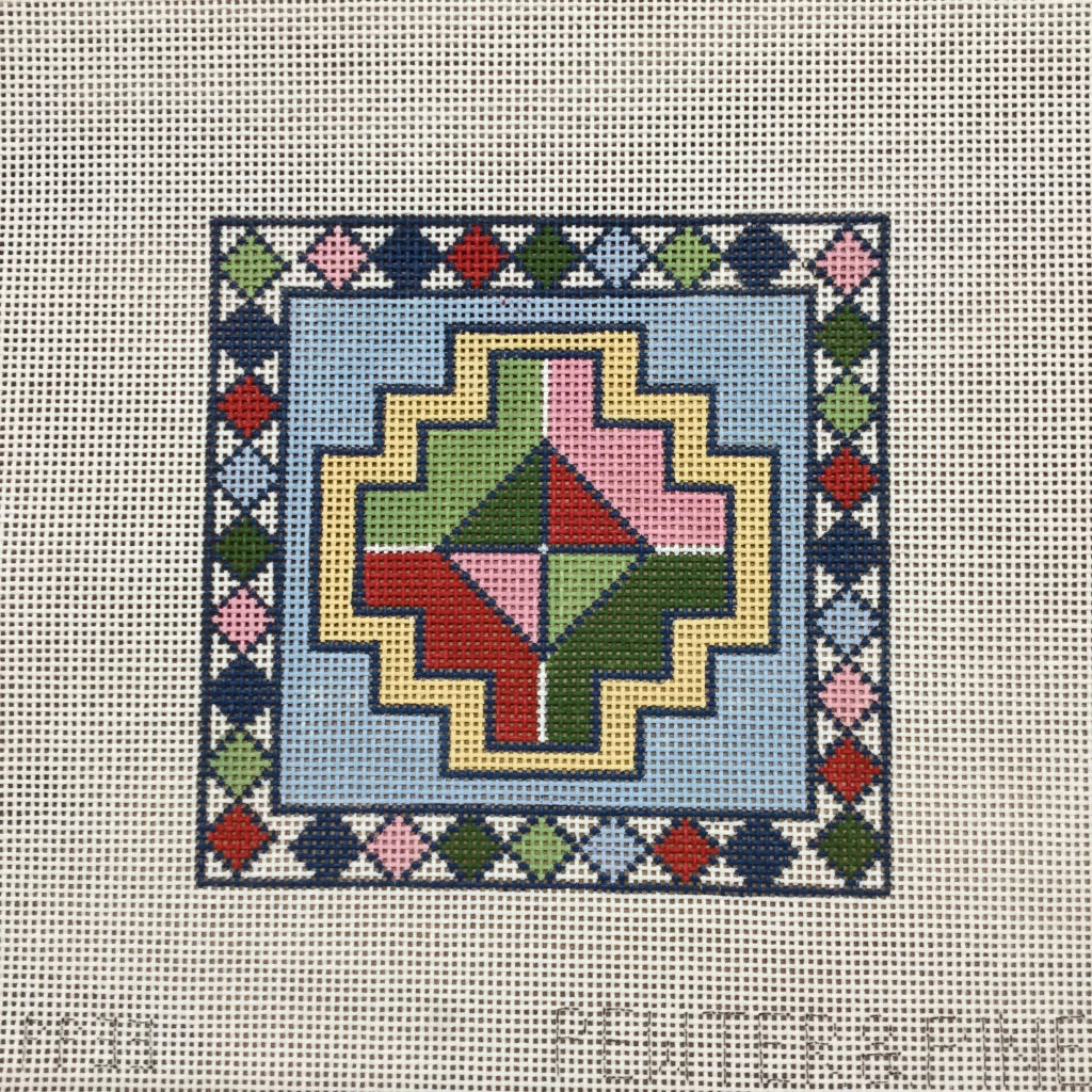Geometric Canvas-Needlepoint Canvas-Pewter & Pine-KC Needlepoint