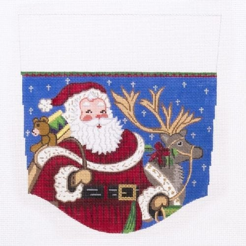 Santa with Reindeer Topper Canvas-Needlepoint Canvas-Alexa Needlepoint Designs-KC Needlepoint