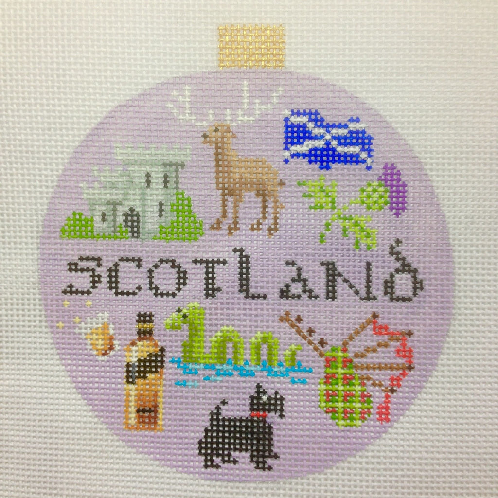 Scotland Travel Round Needlepoint Canvas-Needlepoint Canvas-Kirk and Bradley-KC Needlepoint