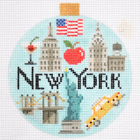 New York Travel Round Needlepoint Canvas - KC Needlepoint