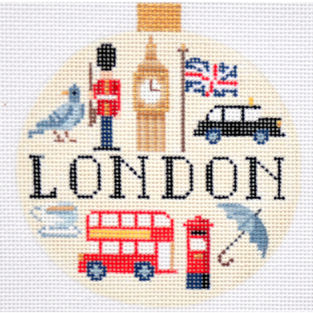 London Travel Round Needlepoint Canvas - KC Needlepoint
