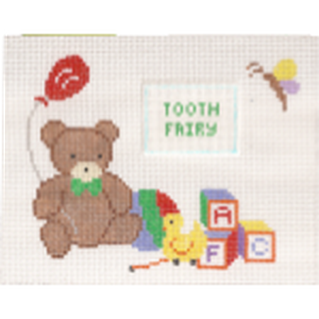 Teddy Bear Tooth Fairy Pillow Canvas-Needlepoint Canvas-Canvas Connection-KC Needlepoint