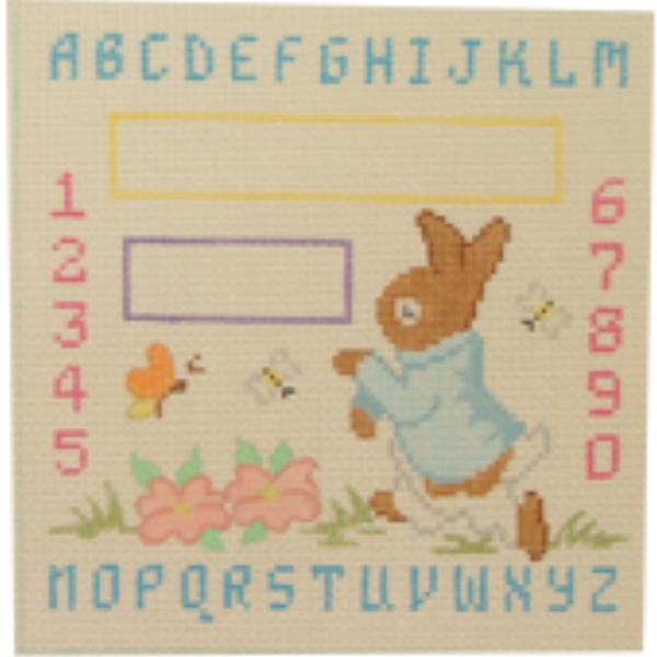 Bunny Baby Sampler Canvas - needlepoint
