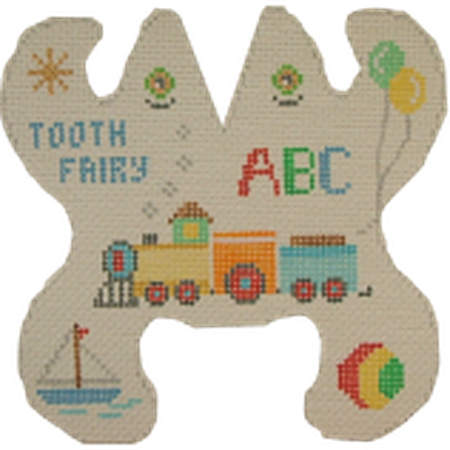 Train Frog Tooth Fairy Pillow Canvas - needlepoint